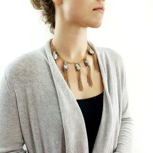 Smoky Topaz Gold Chain Tiered Tassel Necklace